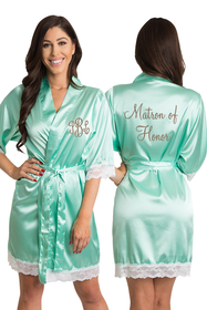 Personalized Embroidered Monogram Matron of Honor Mint Green Lace Satin Robe