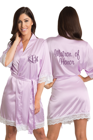 Personalized Embroidered Monogram Matron of Honor Lavender Lace Satin Robe