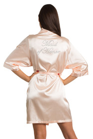 Zynotti Rhinestone Maid of Honor Bridal Party Wedding Kimono Blush Pink Satin Robe