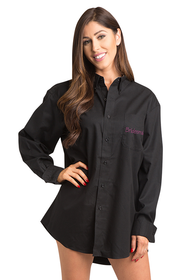 Zynotti embroidered bridesmaid wedding bridal party getting ready oversized black oxford shirt