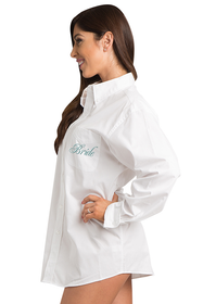 Zynotti embroidered bride oversized white oxford long sleeve shirt