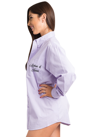 Embroidered Matron of Honor Oversized Button Down Oxford Shirt