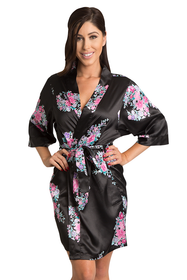 Black Floral Plain Satin Kimono Robe Zynotti black floral bridesmaid satin robe