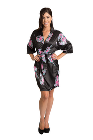 Zynotti black floral satin short kimono robe Zynotti wedding party black floral satin robe