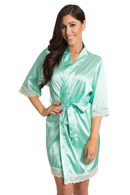 Mint Green Lace satin robe