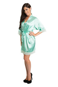 Mint Green lace satin bridesmaid robe
