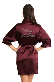 Zynotti Rhinestone Matron of Honor Bridal Party Wedding Kimono Wine Satin Robe