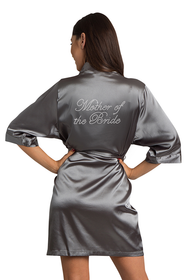 Zynotti Rhinestone Mother of the Bride Bridal Party Wedding Kimono Charcoal grey Satin Robe