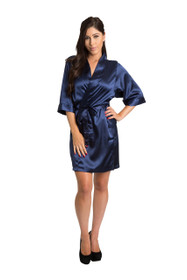 Zynotti Rhinestone Mother of the Groom Bridal Party Wedding Kimono Navy Satin Robe