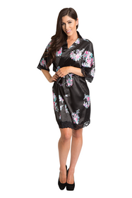 Zynotti black floral lace trimmed satin robe