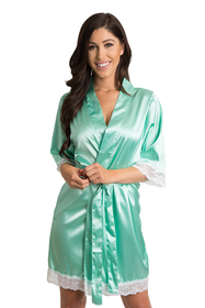 Zynotti Mint Green Lace Bridal Satin Kimono Robe