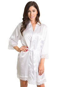 Zynotti White Bridal Lace Robe