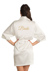 Off-White Gold Glitter Bride Satin Robe