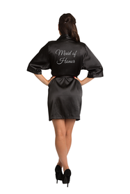 Silver Glitter Maid of Honor Satin Robe