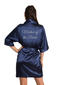 Silver Glitter Mother of the Bride Satin Robe