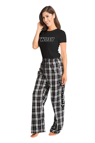 Zynotti wifey matching couple black and white flannel plaid pajama lounge sleepwear pants with wifey black crewneck tee shirt top