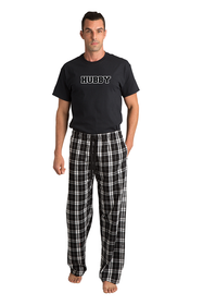 Zynotti hubby matching black and white flannel plaid pajama lounge sleepwear pants with hubby black crewneck tee shirt topZynotti hubby matching black and white flannel plaid pajama lounge sleepwear pants with hubby black crewneck tee shirt top
