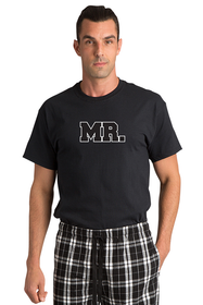 Zynotti Mr matching black and white flannel plaid pajama lounge sleepwear pants with mr black crewneck tee shirt top
