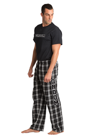 Zynotti Groom matching black and white flannel plaid pajama lounge sleepwear pants with Groom black crewneck tee shirt top
