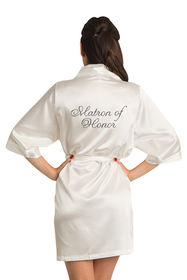 Zynotti's Custom Rhinestone Matron of Honor Satin Robe