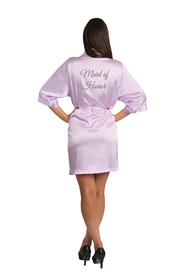 Silver Thread Embroidered Maid of Honor Satin Robe