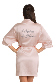 Silver Thread Embroidered Matron of Honor Satin Robe