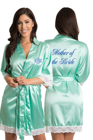 Personalized Embroidered Monogram Mother of the Bride Lace Satin Robe