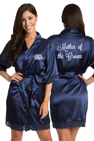 ZYNOTTI Personalized Monogram Mother of the Groom Lace Satin Robe