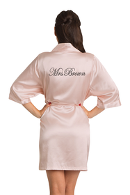 Zynotti Personalized Embroidered Mrs. Blush Pink Satin Robe