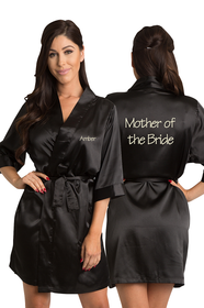 Personalized Embroidered Mother of the Bride Satin Kimono Robe