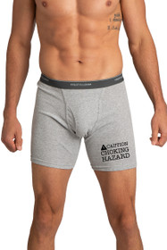 Caution Chocking Hazard Gray Boxer Brief