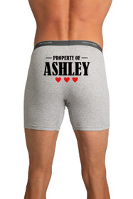 Property of (Name) 3 Hearts - Men's Grey Boxer Brief