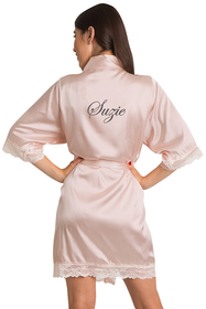 Zynotti's Personalized Embroidered Satin Lace Robe in Blush