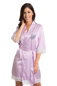 Zynotti's Personalized embroidered Overlay Name Design Lace Robe in Lavender