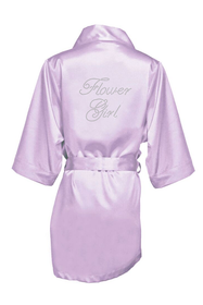Zynotti Rhinestone Flower Girl Satin Robe