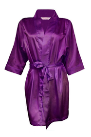 Zynotti's Flower Girl Robe with Glitter Print - Plum