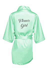 Zynotti's Flower Girl Robe with Glitter Print - Back to Black