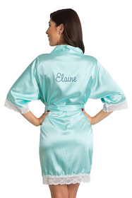 Zynotti's Personalized Rhinestone Satin Lace Robe