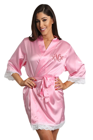 Zynotti's Personalized Rhinestone Monogram Lace Satin Robe