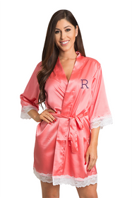 Personalized Rhinestone Initial Lace Satin Robe