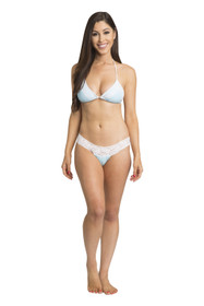 Zynotti classic triangle string tie top, scrunch Brazilian bottom light blue bikini set with white lace. Perfect vacation white swimwear. Light, comfortable, and durable light blue swimsuit.