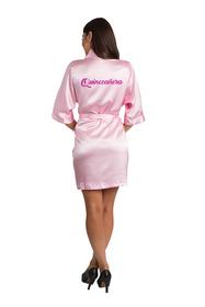 zynotti glitter print quinceanera pink satin robe | bata de quinceanera rosado