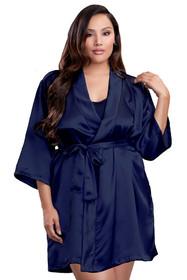 Zynotti Plus Size Wedding Getting Ready Bridal Party Kimono Navy Blue Satin Robe