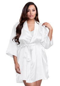 zynotti Women's Plus Size Kimono Getting Ready white satin robe.