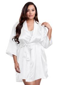 zynotti Women's Plus Size Kimono Getting Ready white satin robe.