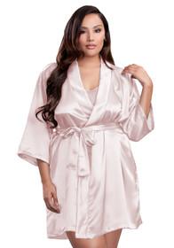 Zynotti plus size wedding getting ready bridal party kimono blush pink satin robe