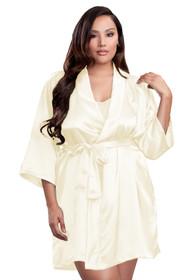 Zynotti plus size wedding getting ready bridal party kimono ivory beige off-white satin robe