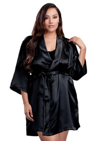 Zynotti plus size wedding getting ready bridal party kimono black satin robe for bride, bridesmaids, maid of honor, matron of honor, mother of the bride and mother of groom