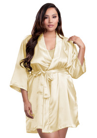 Zynotti plus size wedding getting ready bridal party kimono champagne gold satin robe for bride, bridesmaids, maid of honor, matron of honor, mother of the bride and mother of groom