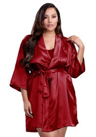 Zynotti plus size wedding getting ready bridal party kimono crimson dark red satin robe for bride, bridesmaids, maid of honor, matron of honor, mother of the bride and mother of groom